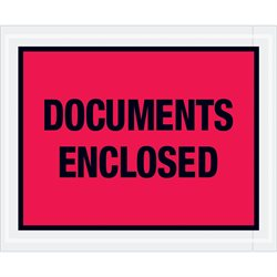 "4 1/2 x 5 1/2"" Red ""Documents Enclosed"" Envelopes"