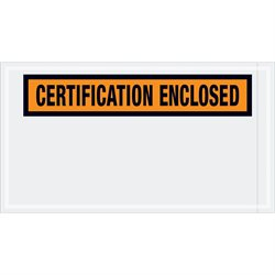 "5 1/2 x 10"" Orange ""Certification Enclosed"" Envelopes"