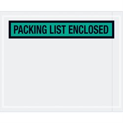 """4 1/2 x 5 1/2"""" Green """"Packing List Enclosed"""" Envelopes"""
