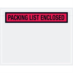"""7 x 5 1/2"""" Red """"Packing List Enclosed"""" Envelopes"""