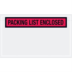 """4 1/2 x 7 1/2"""" Red """"Packing List Enclosed"""" Envelopes"""