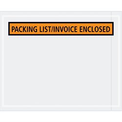 "4 1/2 x 5 1/2"" Orange ""Packing List/Invoice Enclosed"" Envelopes"