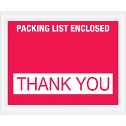 "4 1/2 x 5 1/2"" Red ""Packing List Enclosed - Thank You"" Envelopes"