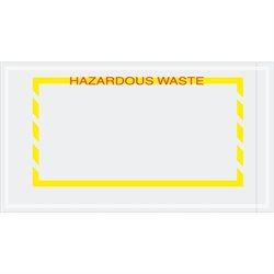 """5 1/2 x 10"""" Yellow Border """"Hazardous Waste"""" Document Envelopes"""