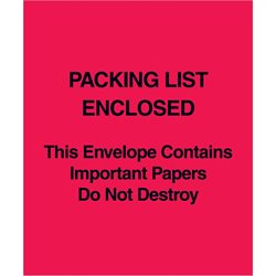 "5 x 6"" Red (Paper Face) ""Packing List Enclosed This Envelope Contains…"""
