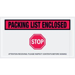 "5 1/2 x 10"" Red ""Packing List Enclosed - Stop"" Envelopes"