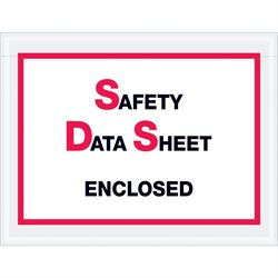 "6 1/2 x 5"" ""Safety Data Sheet Enclosed"" SDS Envelopes"