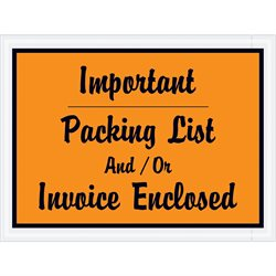 "4 1/2 x 6"" Orange ""Important Packing List And/Or Invoice Enclosed"" Envelopes"
