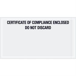 "6 x 11"" ""Certificate of Compliance Enclosed"" Transportation Envelopes"