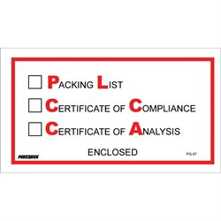 "5 1/2 x 10"" ""Packing List/Cert of Compliance/Cert. of Analysis Enclosed"" Envelopes"