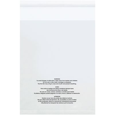 """9 x 12"""" - 1.5 Mil Resealable Suffocation Warning Poly Bags w/Vent Holes"""