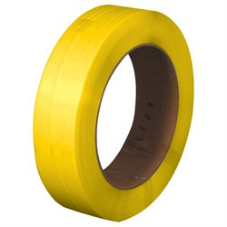 "1/2"" x .022 x 7200' Yellow 16 x 6"" Core Hand Grade Polypropylene Strapping - Embossed"