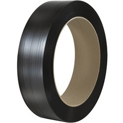 "1/2"" x .037 x 5575' Black 16 x 6"" Core Hand Grade Polypropylene Strapping - Embossed"