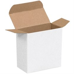 "2 1/4 x 3/4 x 2 1/4"" White Reverse Tuck Folding Cartons"