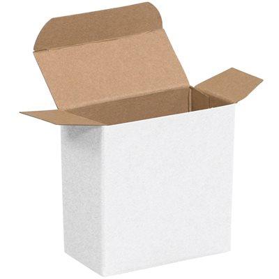 "3 1/2 x 1 1/4 x 3 1/2"" White Reverse Tuck Folding Cartons"