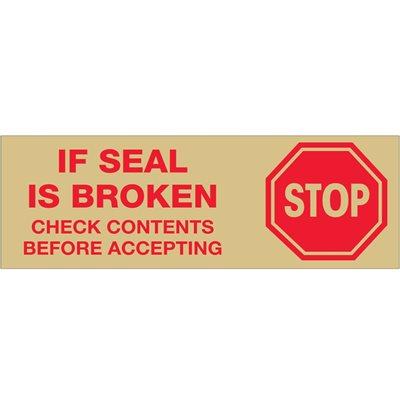 """2"""" x 55 yds. - """"Stop If Seal Is Broken..."""" Tape Logic® Pre-Printed Carton Sealing Tape"""
