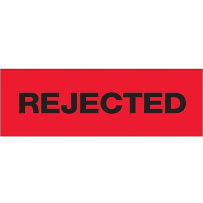 "2"" x 55 yds. - ""Rejected"" (6 Pack) Tape Logic® Pre-Printed Carton Sealing Tape"