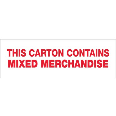 """2"""" x 110 yds. - """"Mixed Merchandise"""" (6 Pack) Pre-Printed Carton Sealing Tape"""