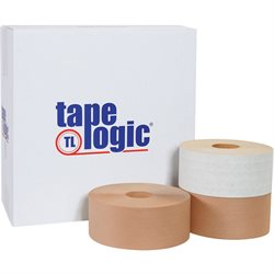 "3"" x 450' White Tape Logic® #7700 Reinforced Water Activated Tape"