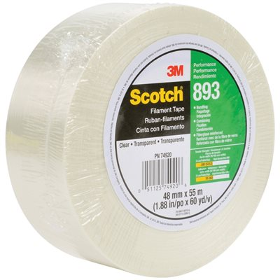 """2"""" x 60 yds. (6 Pack) 3M 893 Strapping Tape"""