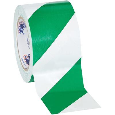 "3"" x 36 yds. Green/White Tape Logic® Striped Vinyl Safety Tape"