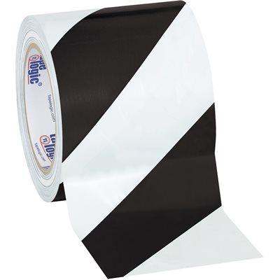 "4"" x 36 yds. Black/White Tape Logic® Striped Vinyl Safety Tape"