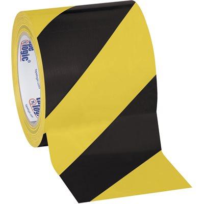 "4"" x 36 yds. Black/Yellow Tape Logic® Striped Vinyl Safety Tape"