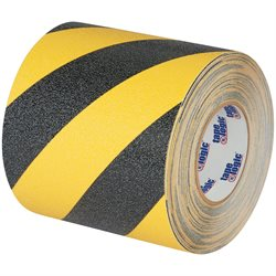 "6"" x 60' Black/Yellow Striped Heavy-Duty Tape Logic® Anti-Slip Tape"