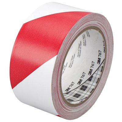 "2"" x 36 yds. Red/White (2 Pack) 3M 767 Striped Vinyl Tape"