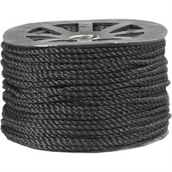 "1/4"", 1,150 lb, Black Twisted Polypropylene Rope"