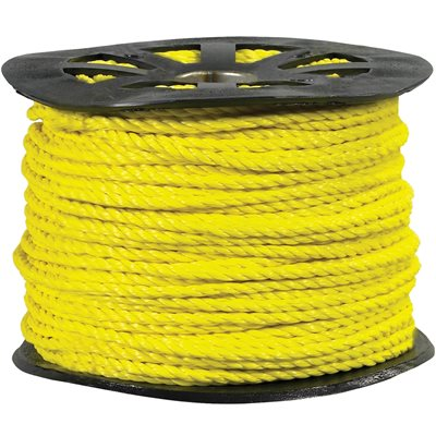 """3/8"""", 2,450 lb, Yellow Twisted Polypropylene Rope"""