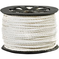 "3/8"", 2,450 lb, White Twisted Polypropylene Rope"