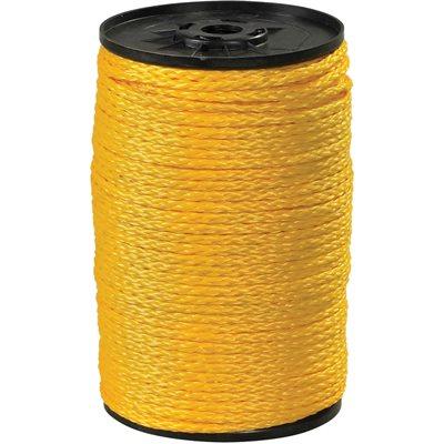 "3/8"", 2,100 lb, Yellow Hollow Braided Polypropylene Rope"