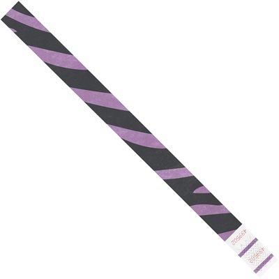 """3/4 x 10"""" Purple Zebra Stripe Tyvek® Wristbands"""