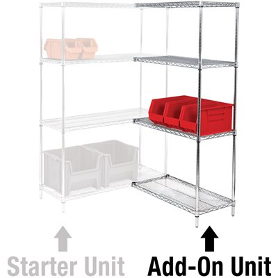 "48 x 24 x 86"" - 4 Shelf Wire Shelving Add-On Unit"