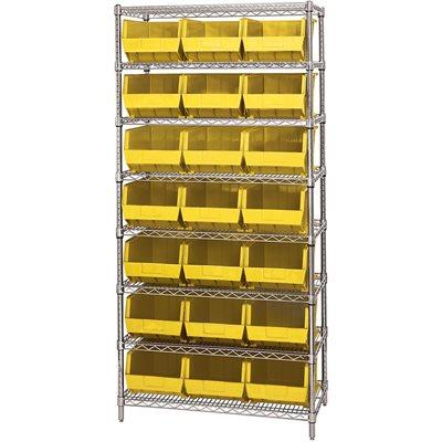 "36 x 18 x 74"" - 8 Shelf Wire Shelving Unit with (21) Yellow Bins"