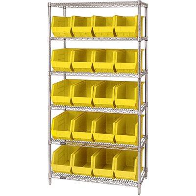 "36 x 18 x 74"" - 6 Shelf Wire Shelving Unit with (20) Yellow Bins"